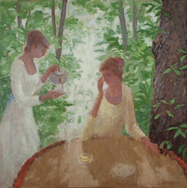Two ladies having tea