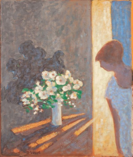 Woman in interior with still life